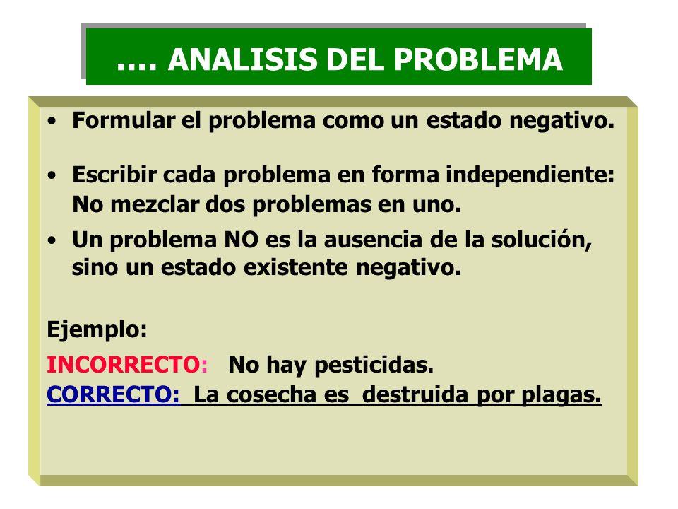 Formular el problema como un estado negativo. Escribir cada problema en forma independiente: No mezclar dos problemas en uno. Un problema NO es la aus