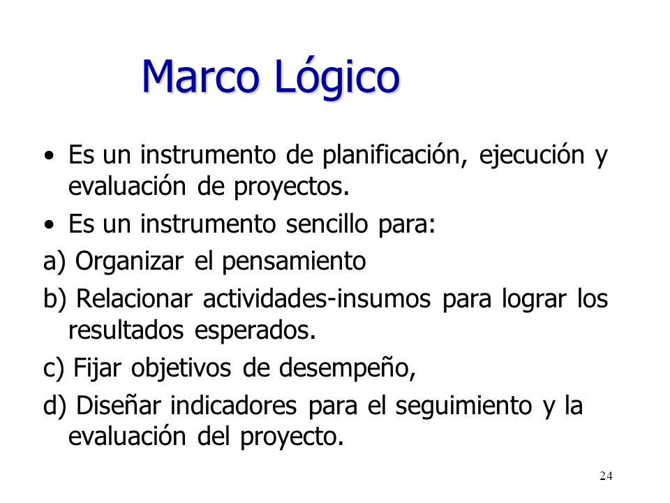 24 Marco Lógico Es un instrumento de planificación, ejecución y evaluación de proyectos. Es un instrumento sencillo para: a) Organizar el pensamiento