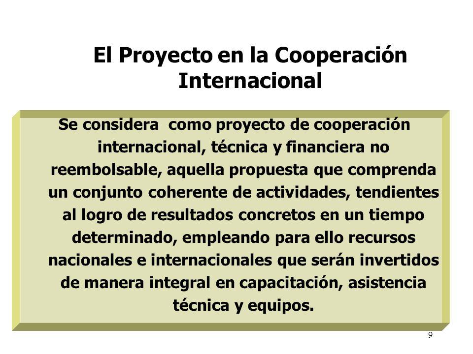 9 El Proyecto en la Cooperación Internacional Se considera como proyecto de cooperación internacional, técnica y financiera no reembolsable, aquella p