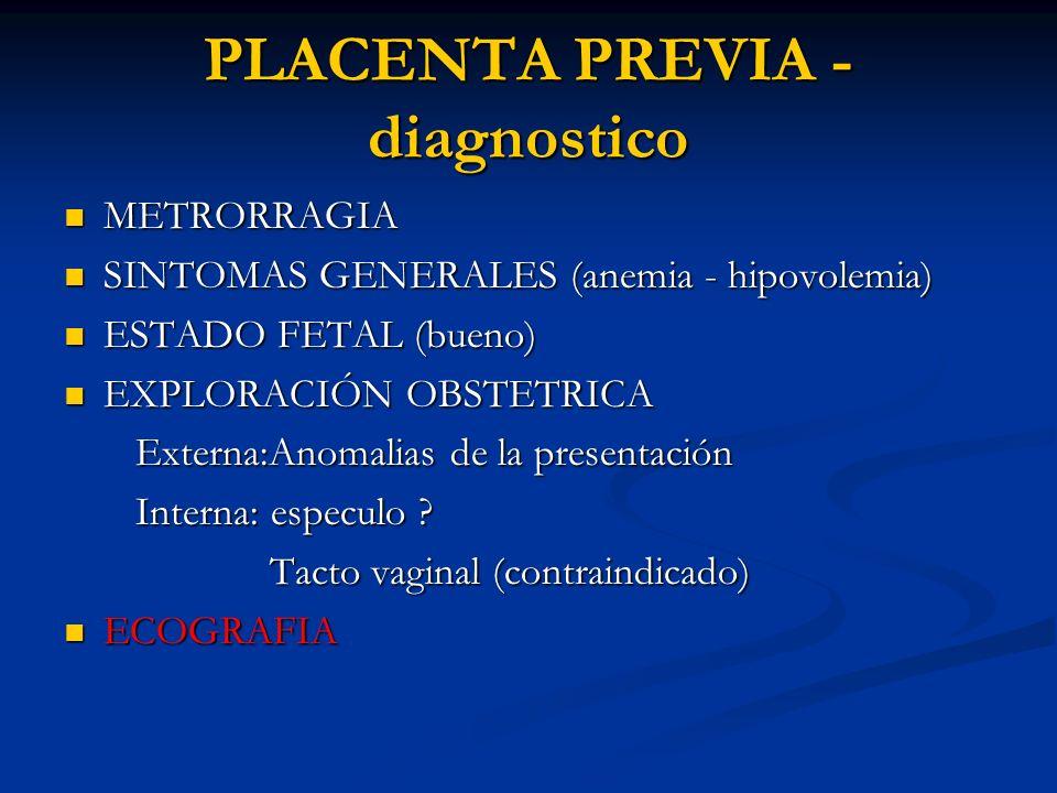 PLACENTA PREVIA - diagnostico METRORRAGIA METRORRAGIA SINTOMAS GENERALES (anemia - hipovolemia) SINTOMAS GENERALES (anemia - hipovolemia) ESTADO FETAL