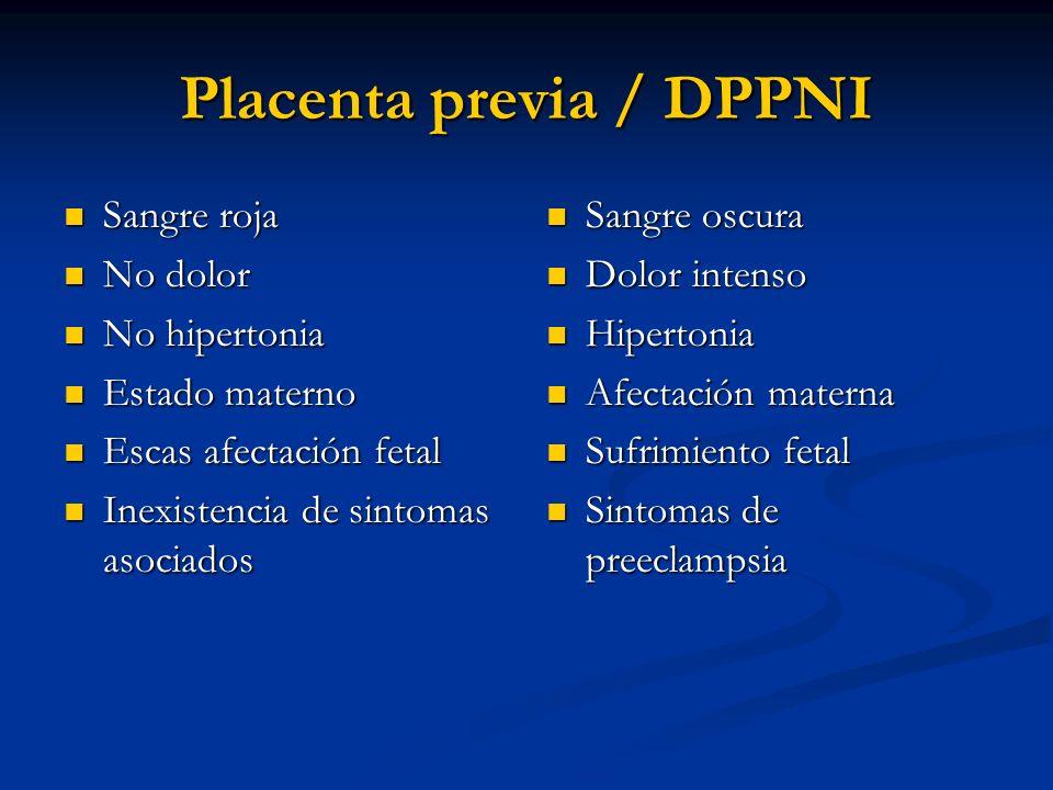 Placenta previa / DPPNI Sangre roja Sangre roja No dolor No dolor No hipertonia No hipertonia Estado materno Estado materno Escas afectación fetal Esc