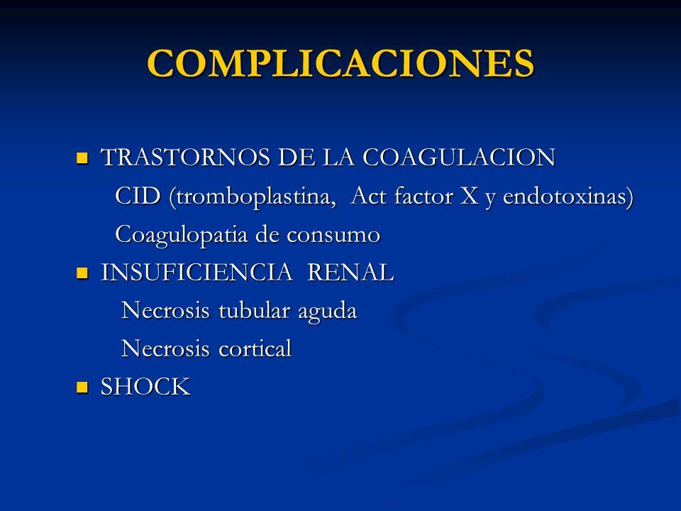 COMPLICACIONES TRASTORNOS DE LA COAGULACION TRASTORNOS DE LA COAGULACION CID (tromboplastina, Act factor X y endotoxinas) CID (tromboplastina, Act fac
