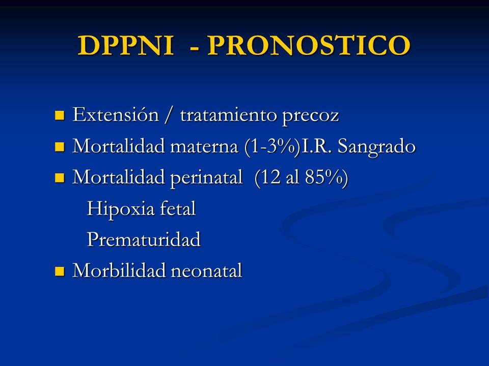 DPPNI - PRONOSTICO Extensión / tratamiento precoz Extensión / tratamiento precoz Mortalidad materna (1-3%)I.R. Sangrado Mortalidad materna (1-3%)I.R.