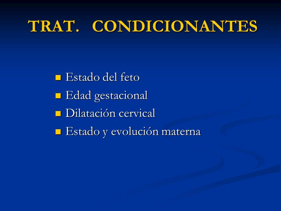 TRAT. CONDICIONANTES TRAT. CONDICIONANTES Estado del feto Estado del feto Edad gestacional Edad gestacional Dilatación cervical Dilatación cervical Es