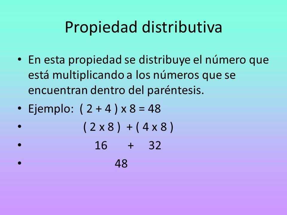 Propiedad distributiva En esta propiedad se distribuye el número que está multiplicando a los números que se encuentran dentro del paréntesis. Ejemplo