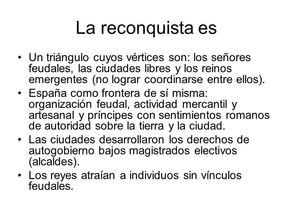 La reconquista es Un triángulo cuyos vértices son: los señores feudales, las ciudades libres y los reinos emergentes (no lograr coordinarse entre ello