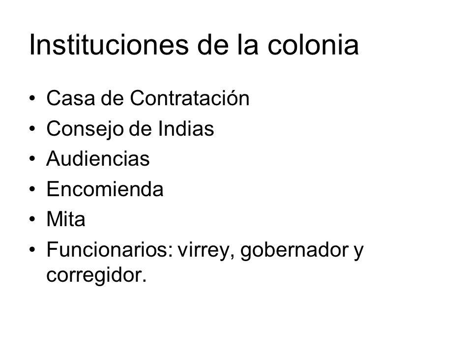 Instituciones de la colonia Casa de Contratación Consejo de Indias Audiencias Encomienda Mita Funcionarios: virrey, gobernador y corregidor.