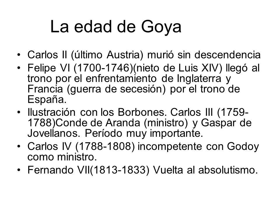 La edad de Goya Carlos II (último Austria) murió sin descendencia Felipe VI (1700-1746)(nieto de Luis XIV) llegó al trono por el enfrentamiento de Ing