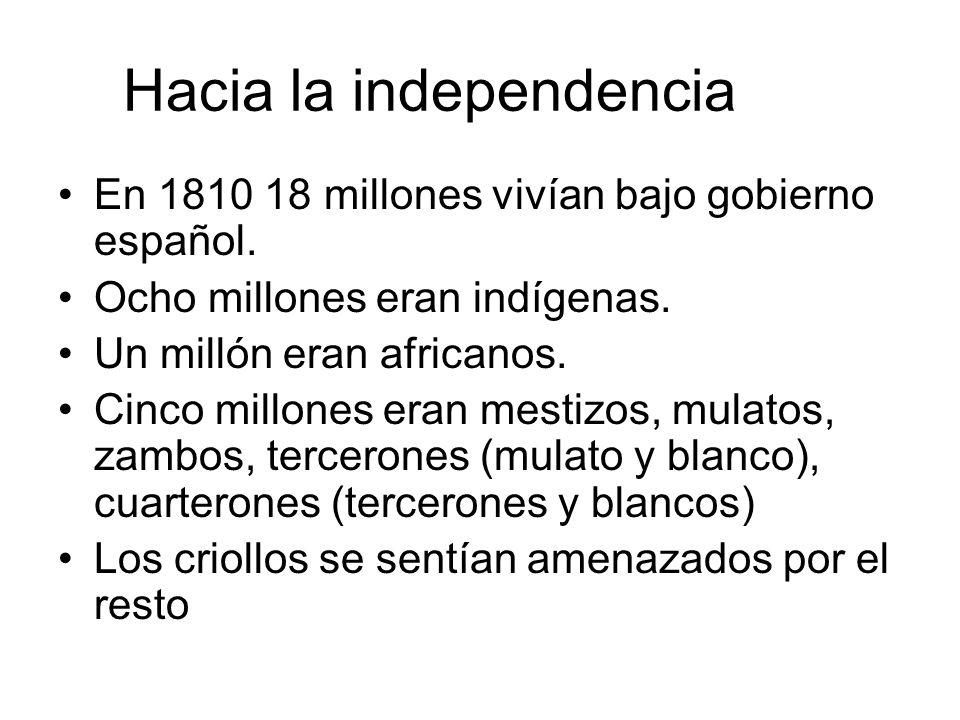 Hacia la independencia En 1810 18 millones vivían bajo gobierno español. Ocho millones eran indígenas. Un millón eran africanos. Cinco millones eran m