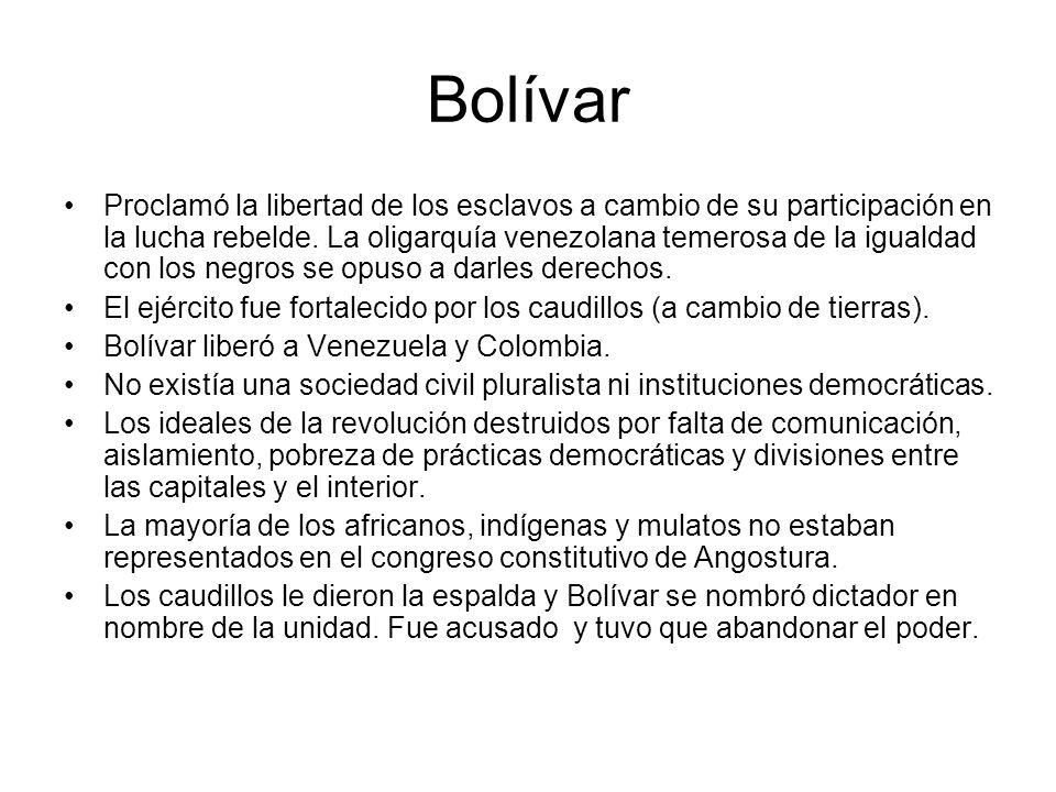 Bolívar Proclamó la libertad de los esclavos a cambio de su participación en la lucha rebelde. La oligarquía venezolana temerosa de la igualdad con lo
