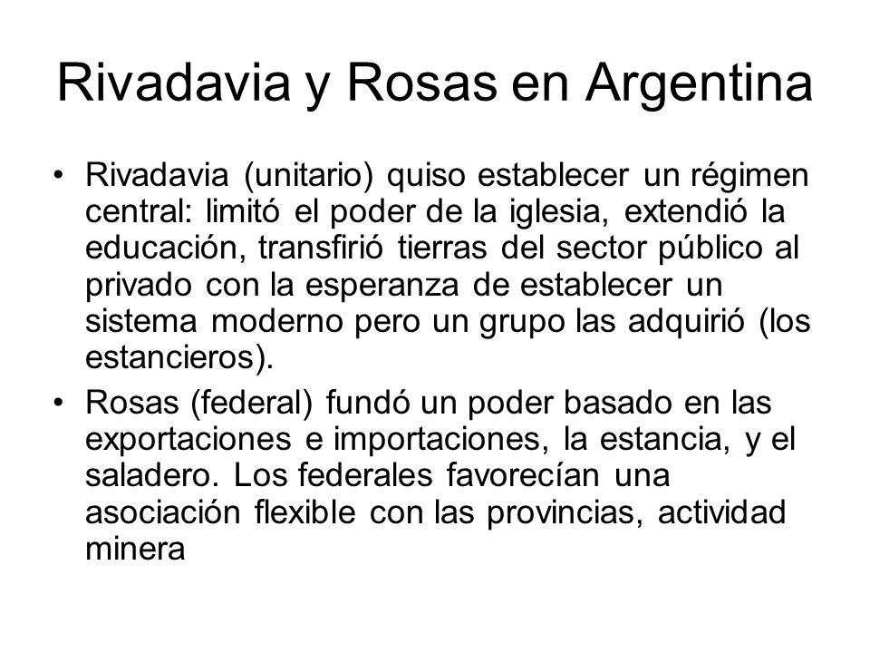 Rivadavia y Rosas en Argentina Rivadavia (unitario) quiso establecer un régimen central: limitó el poder de la iglesia, extendió la educación, transfi