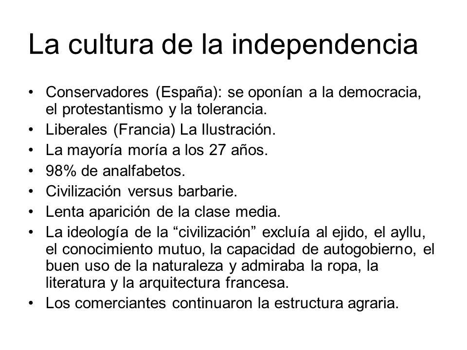 La cultura de la independencia Conservadores (España): se oponían a la democracia, el protestantismo y la tolerancia. Liberales (Francia) La Ilustraci