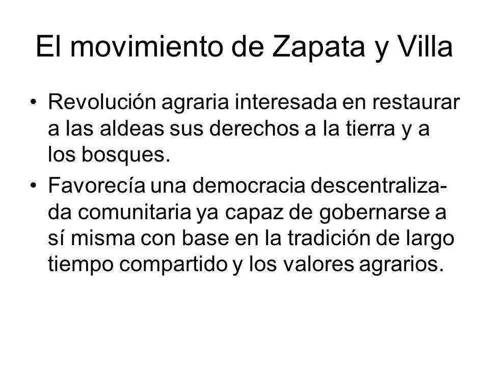 El movimiento de Zapata y Villa Revolución agraria interesada en restaurar a las aldeas sus derechos a la tierra y a los bosques. Favorecía una democr