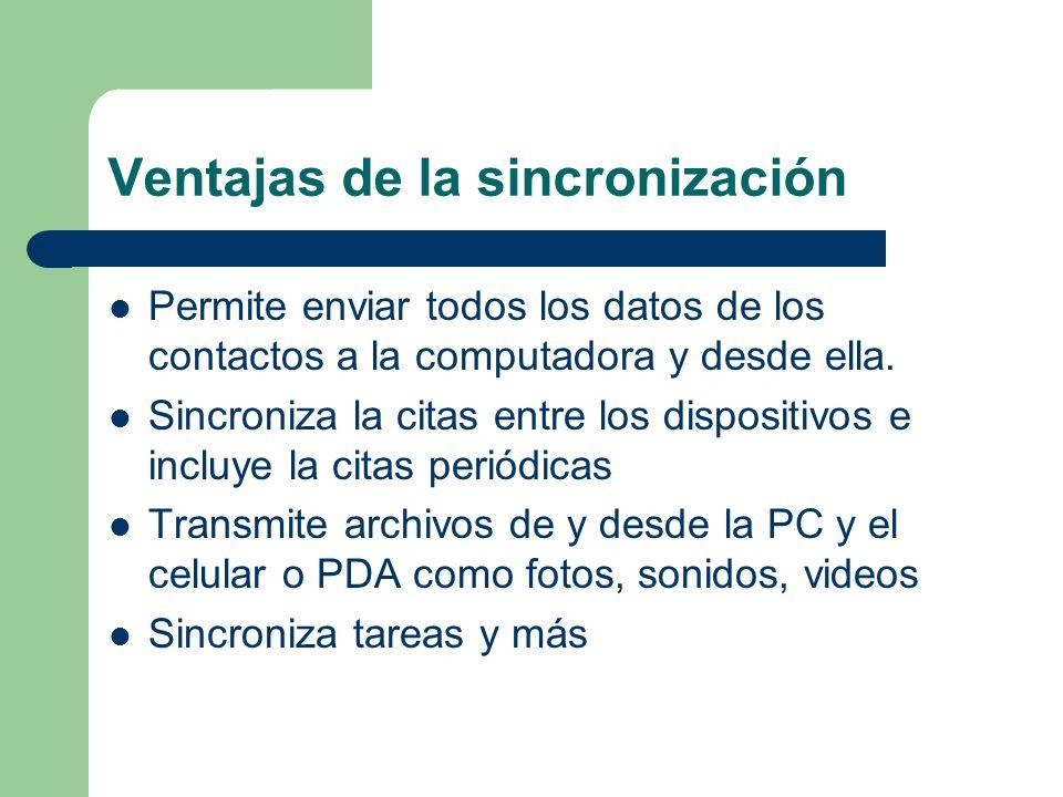 Requisitos de la sincronización Un medio: cable USB, puerto bluetooth, infrarrojo.