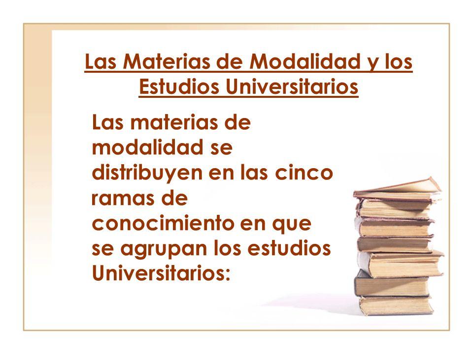 Las Materias de Modalidad y los Estudios Universitarios Las materias de modalidad se distribuyen en las cinco ramas de conocimiento en que se agrupan los estudios Universitarios: