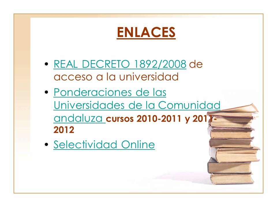 ENLACES REAL DECRETO 1892/2008 de acceso a la universidadREAL DECRETO 1892/2008 Ponderaciones de las Universidades de la Comunidad andaluza cursos 2010-2011 y 2011- 2012Ponderaciones de las Universidades de la Comunidad andaluza Selectividad Online
