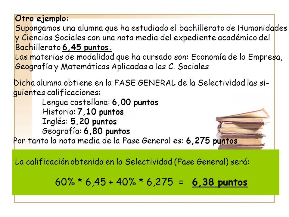 Otro ejemplo: Supongamos una alumna que ha estudiado el bachillerato de Humanidades y Ciencias Sociales con una nota media del expediente académico del Bachillerato 6,45 puntos.