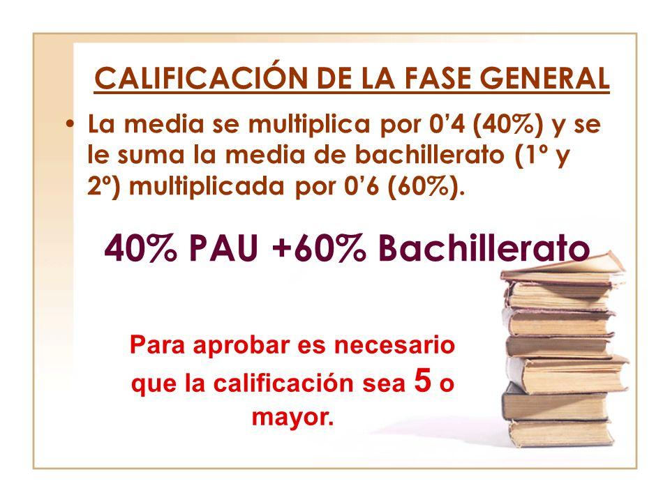 CALIFICACIÓN DE LA FASE GENERAL La media se multiplica por 04 (40%) y se le suma la media de bachillerato (1º y 2º) multiplicada por 06 (60%). 40% PAU
