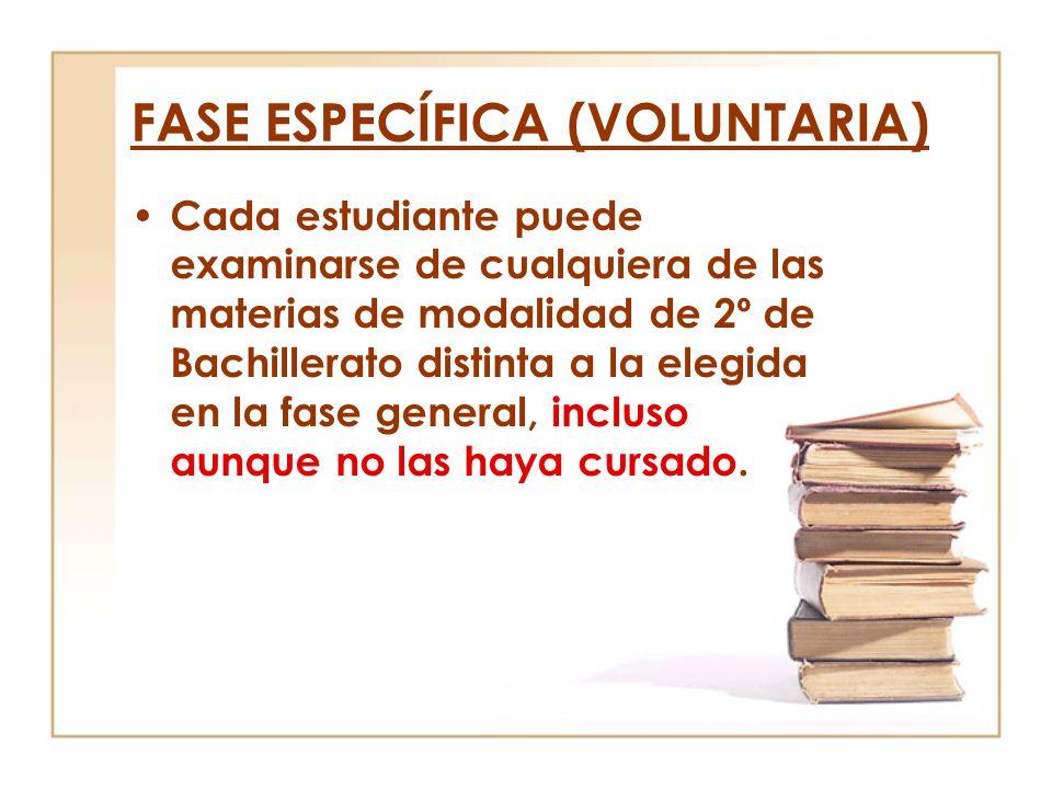 FASE ESPECÍFICA (VOLUNTARIA) Cada estudiante puede examinarse de cualquiera de las materias de modalidad de 2º de Bachillerato distinta a la elegida e