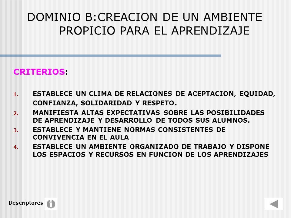 DOMINIO B:CREACION DE UN AMBIENTE PROPICIO PARA EL APRENDIZAJE CRITERIOS: 1. ESTABLECE UN CLIMA DE RELACIONES DE ACEPTACION, EQUIDAD, CONFIANZA, SOLID