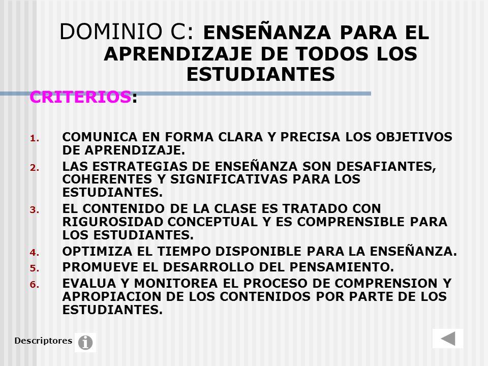 DOMINIO C: ENSEÑANZA PARA EL APRENDIZAJE DE TODOS LOS ESTUDIANTES CRITERIOS: 1. COMUNICA EN FORMA CLARA Y PRECISA LOS OBJETIVOS DE APRENDIZAJE. 2. LAS