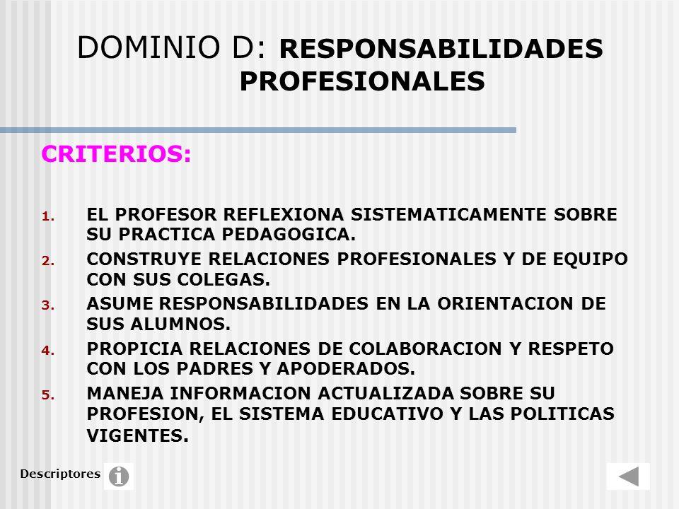 DOMINIO D: RESPONSABILIDADES PROFESIONALES CRITERIOS: 1. EL PROFESOR REFLEXIONA SISTEMATICAMENTE SOBRE SU PRACTICA PEDAGOGICA. 2. CONSTRUYE RELACIONES
