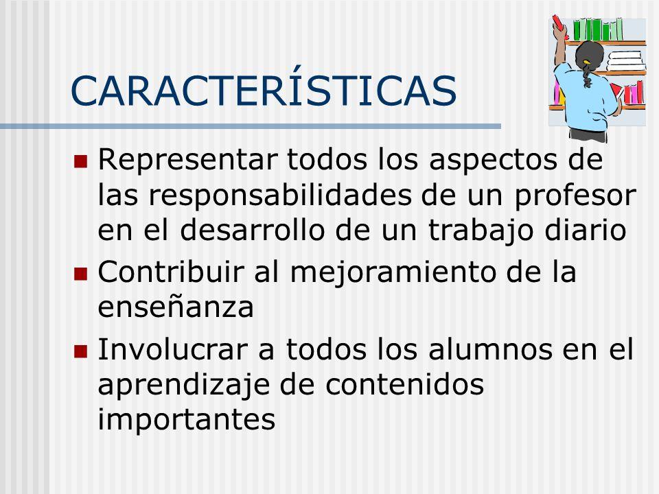 CARACTERÍSTICAS Representar todos los aspectos de las responsabilidades de un profesor en el desarrollo de un trabajo diario Contribuir al mejoramient