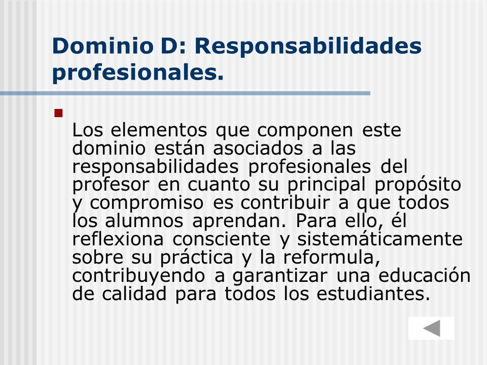 Dominio D: Responsabilidades profesionales. Los elementos que componen este dominio están asociados a las responsabilidades profesionales del profesor
