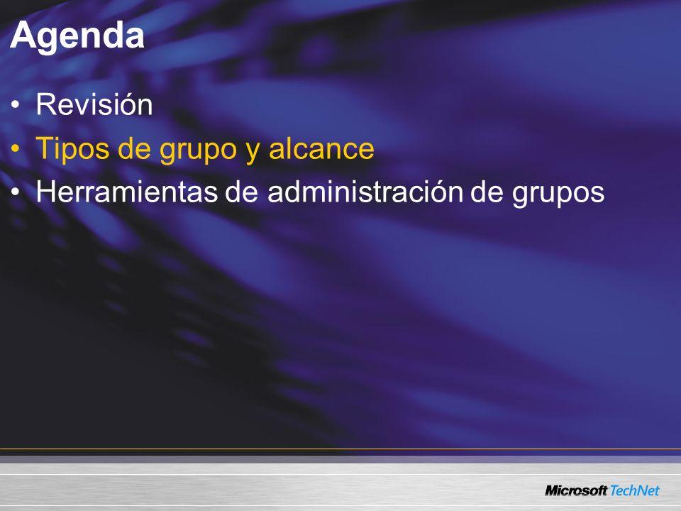 Agenda Revisión Tipos de grupo y alcance Herramientas de administración de grupos