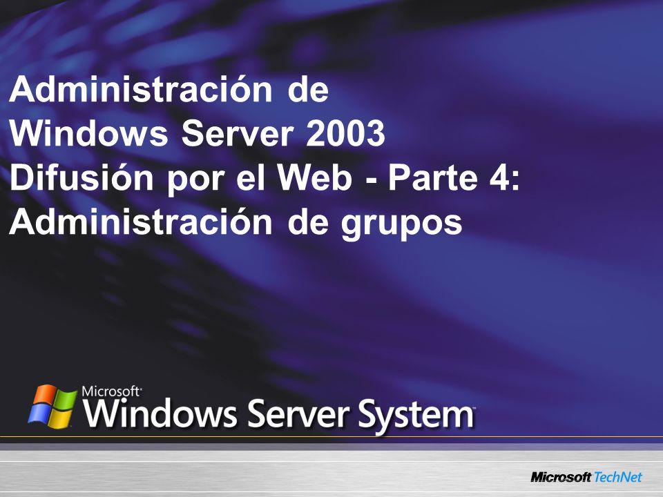 Lo que vamos a cubrir: Los diversos tipos y alcances de los grupos disponibles en un dominio Windows Server 2003 Crear grupos y administrar membresías de grupo Utilizar herramientas de línea de comando para administrar grupos