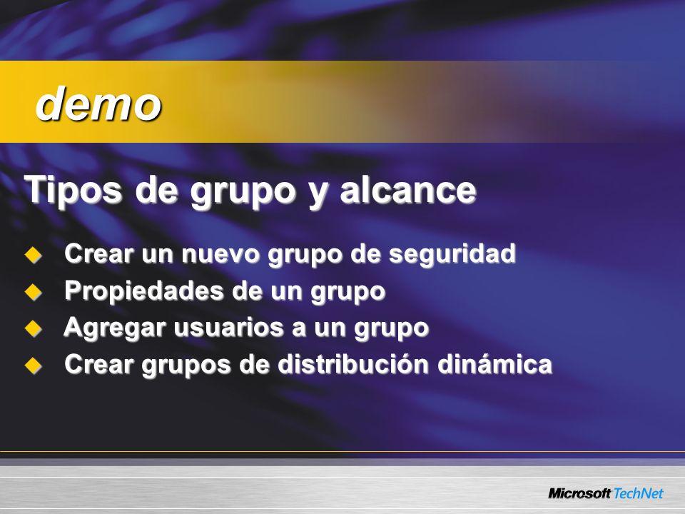 Tipos de grupo y alcance Crear un nuevo grupo de seguridad Crear un nuevo grupo de seguridad Propiedades de un grupo Propiedades de un grupo Agregar u
