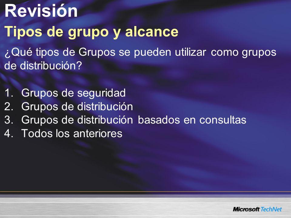 Revisión Tipos de grupo y alcance ¿Qué tipos de Grupos se pueden utilizar como grupos de distribución? 1.Grupos de seguridad 2.Grupos de distribución