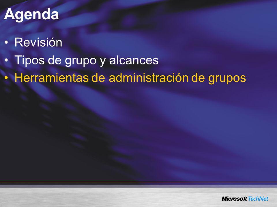 Agenda Revisión Tipos de grupo y alcances Herramientas de administración de grupos