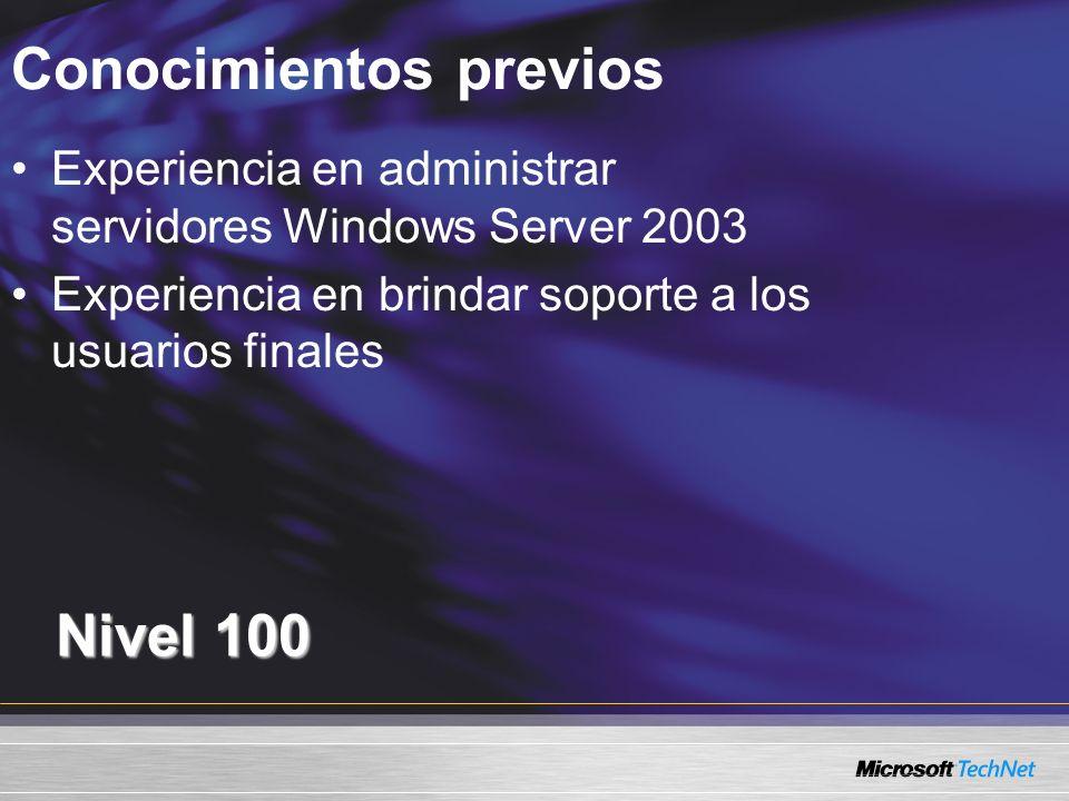 Conocimientos previos Nivel 100 Experiencia en administrar servidores Windows Server 2003 Experiencia en brindar soporte a los usuarios finales