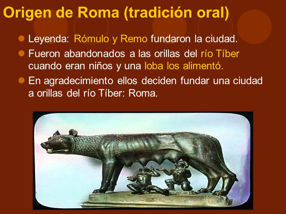Origen de Roma (tradición histórica) Habitantes de la península itálica: Etruscos: Norte.