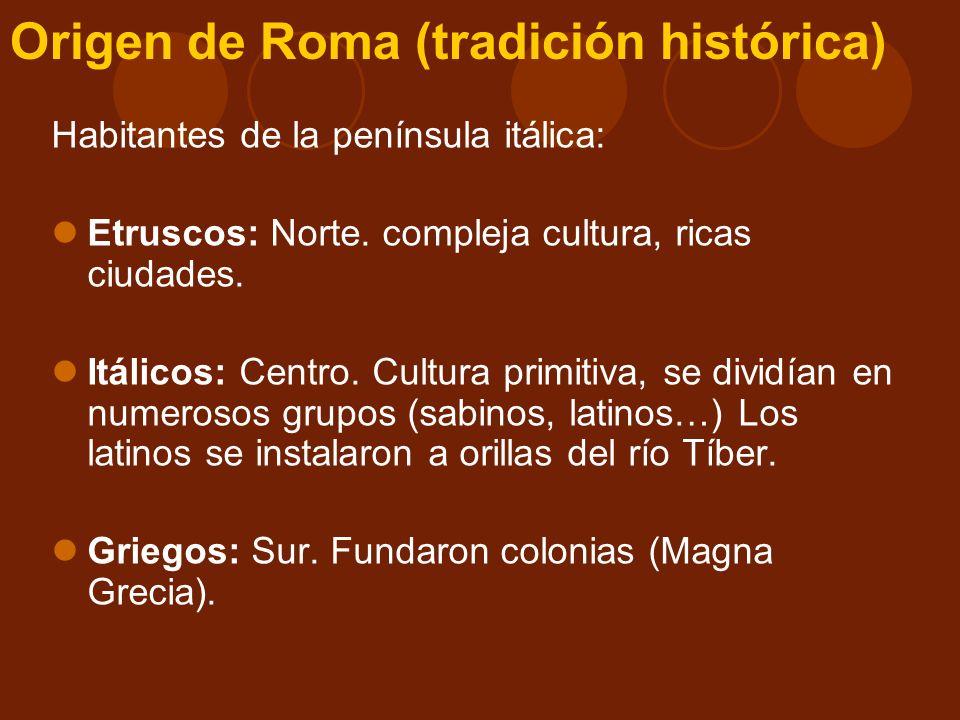 Origen de Roma (tradición histórica) Según las investigaciones, los romanos eran latinos (región del Lacio) y cuyo idioma era el latín Habitaban en pequeñas colinas y se dedicaban a la agricultura y a la ganadería Siglo VII a.