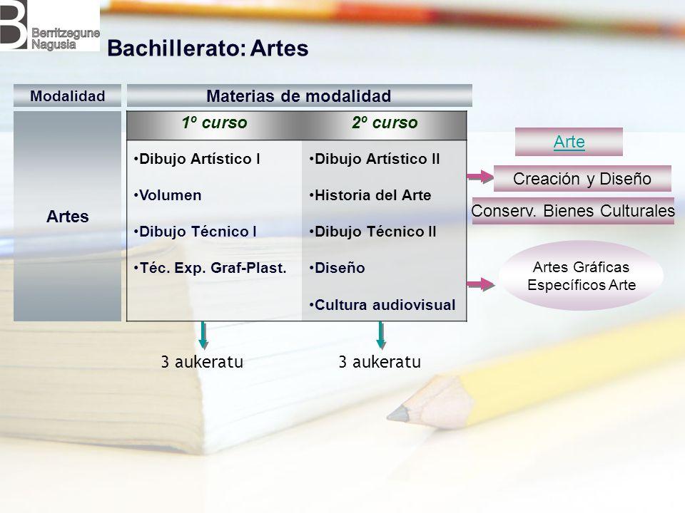 1º curso2º curso Dibujo Artístico I Volumen Dibujo Técnico I Téc. Exp. Graf-Plast. Dibujo Artístico II Historia del Arte Dibujo Técnico II Diseño Cult
