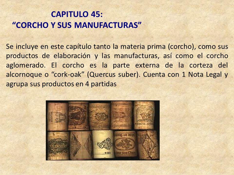 CAPITULO 45: CORCHO Y SUS MANUFACTURAS Se incluye en este capítulo tanto la materia prima (corcho), como sus productos de elaboración y las manufactur