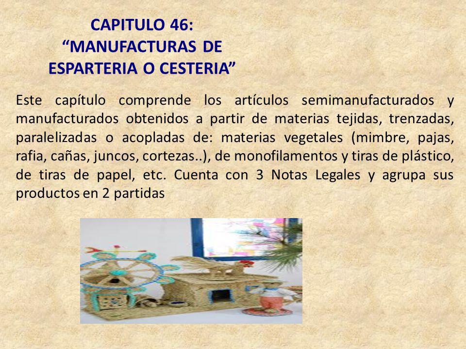 CAPITULO 46: MANUFACTURAS DE ESPARTERIA O CESTERIA Este capítulo comprende los artículos semimanufacturados y manufacturados obtenidos a partir de mat