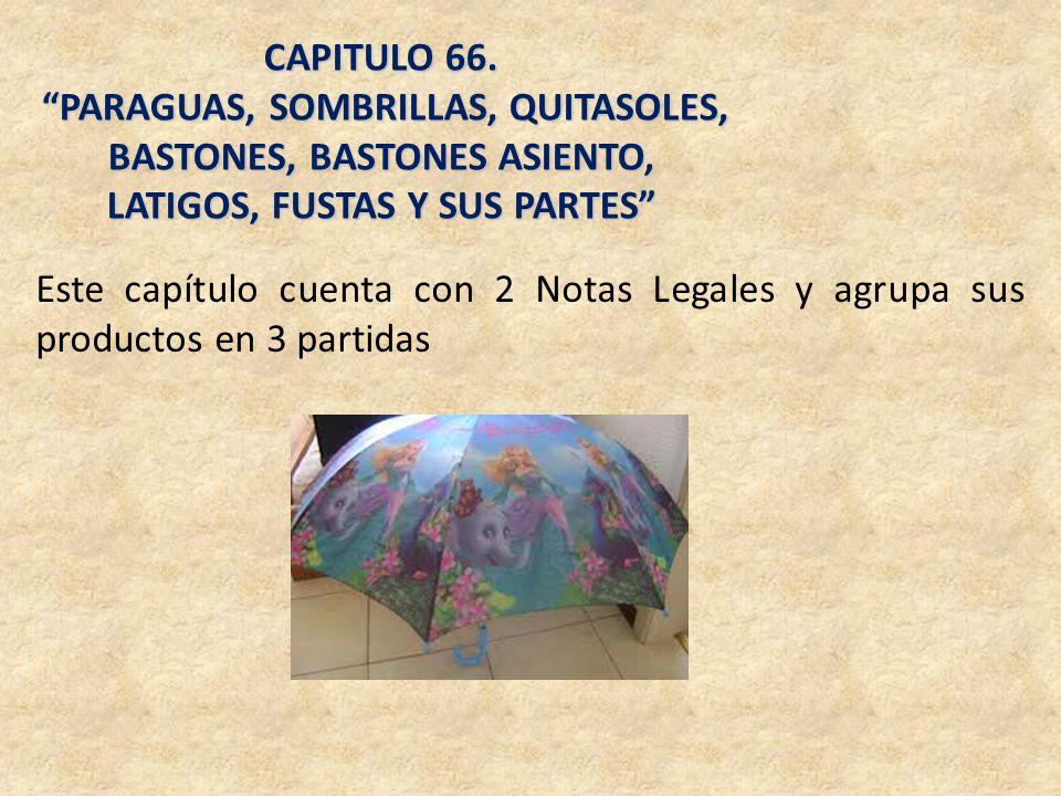 CAPITULO 66. PARAGUAS, SOMBRILLAS, QUITASOLES, BASTONES, BASTONES ASIENTO, LATIGOS, FUSTAS Y SUS PARTES PARAGUAS, SOMBRILLAS, QUITASOLES, BASTONES, BA