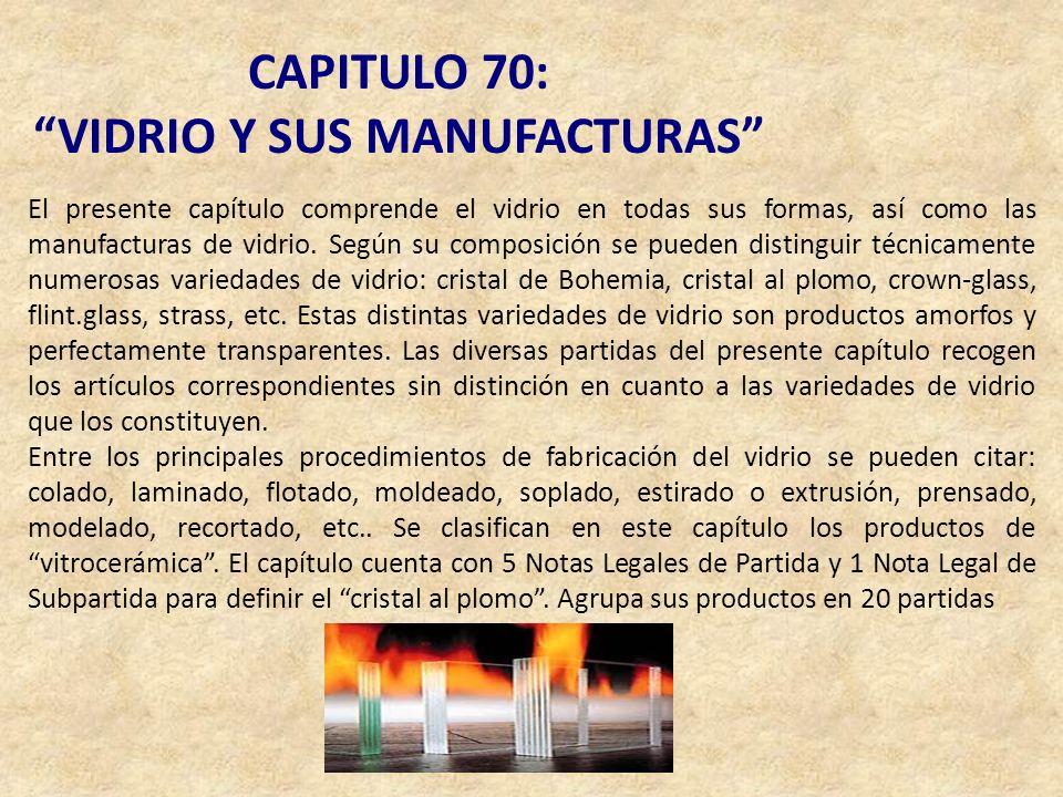 CAPITULO 70: VIDRIO Y SUS MANUFACTURAS El presente capítulo comprende el vidrio en todas sus formas, así como las manufacturas de vidrio. Según su com