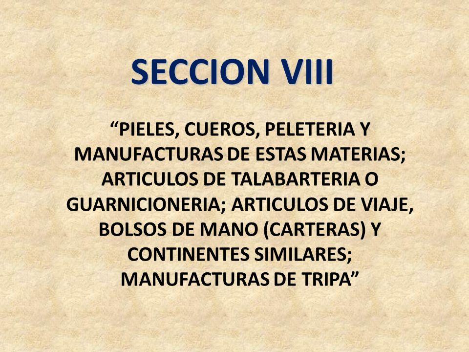 SECCION VIII PIELES, CUEROS, PELETERIA Y MANUFACTURAS DE ESTAS MATERIAS; ARTICULOS DE TALABARTERIA O GUARNICIONERIA; ARTICULOS DE VIAJE, BOLSOS DE MAN