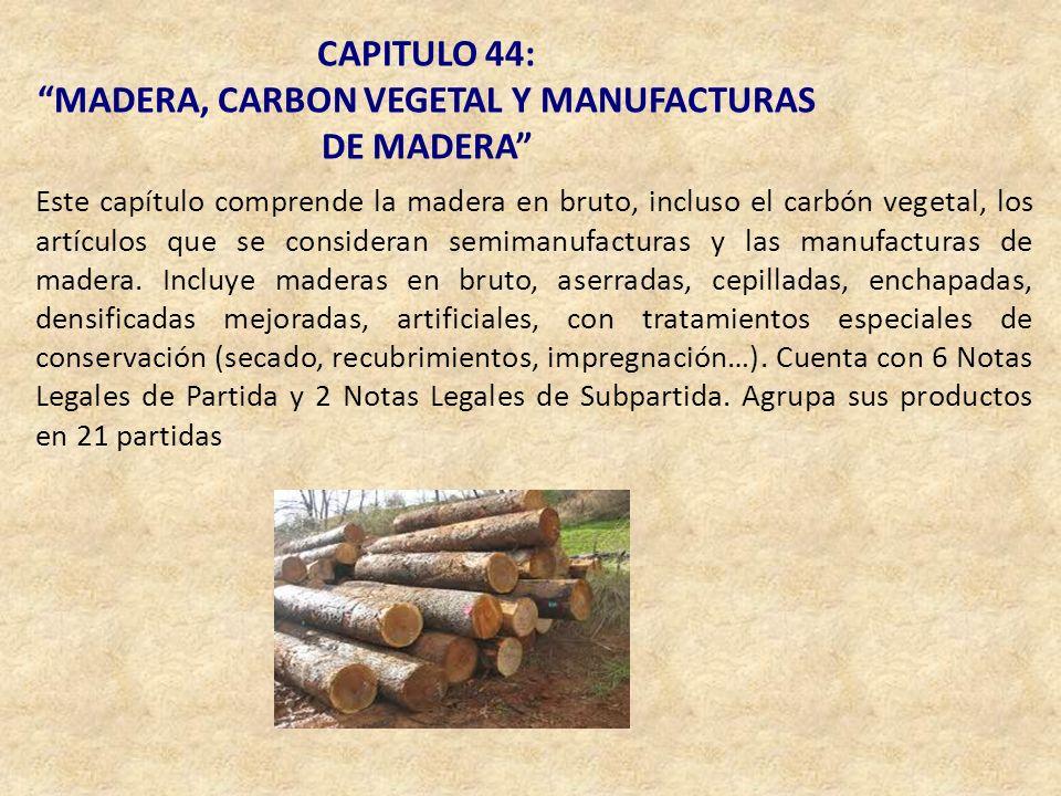 CAPITULO 44: MADERA, CARBON VEGETAL Y MANUFACTURAS DE MADERA Este capítulo comprende la madera en bruto, incluso el carbón vegetal, los artículos que
