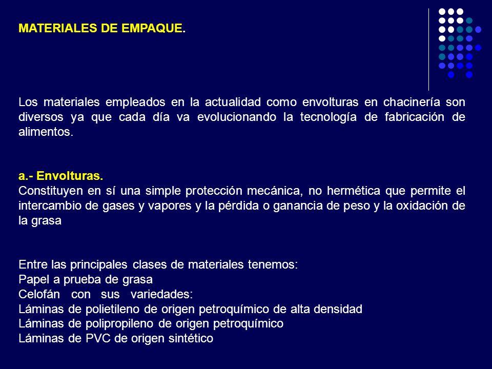 MATERIALES DE EMPAQUE. Los materiales empleados en la actualidad como envolturas en chacinería son diversos ya que cada día va evolucionando la tecnol