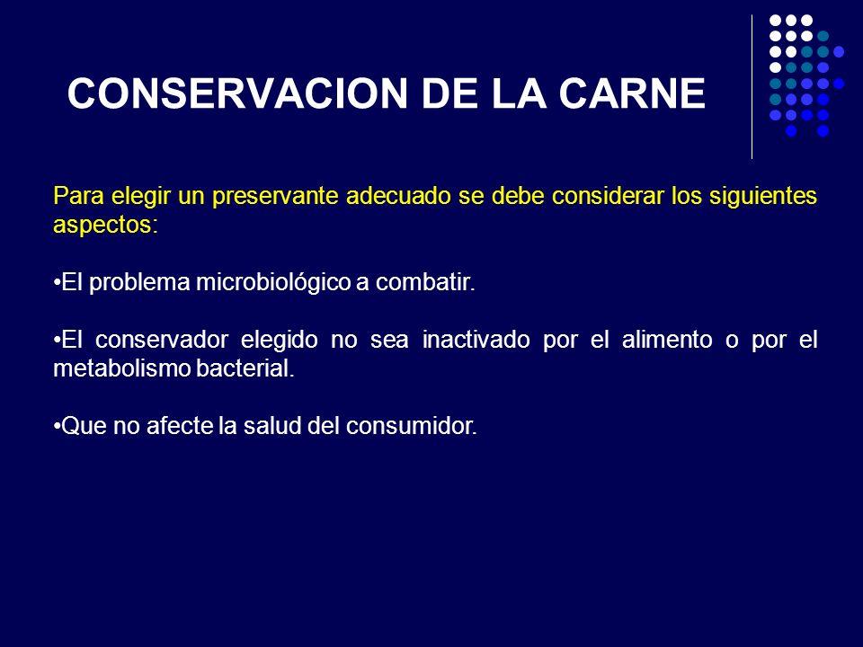CONSERVACION DE LA CARNE Para elegir un preservante adecuado se debe considerar los siguientes aspectos: El problema microbiológico a combatir. El con