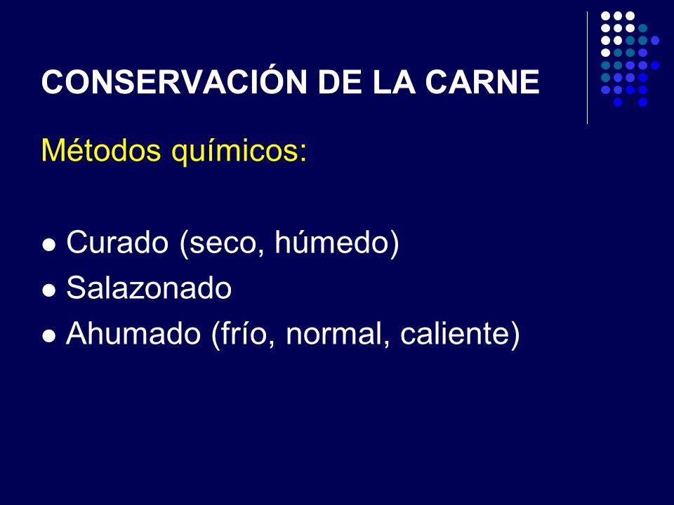 CONSERVACIÓN DE LA CARNE Métodos químicos: Curado (seco, húmedo) Salazonado Ahumado (frío, normal, caliente)