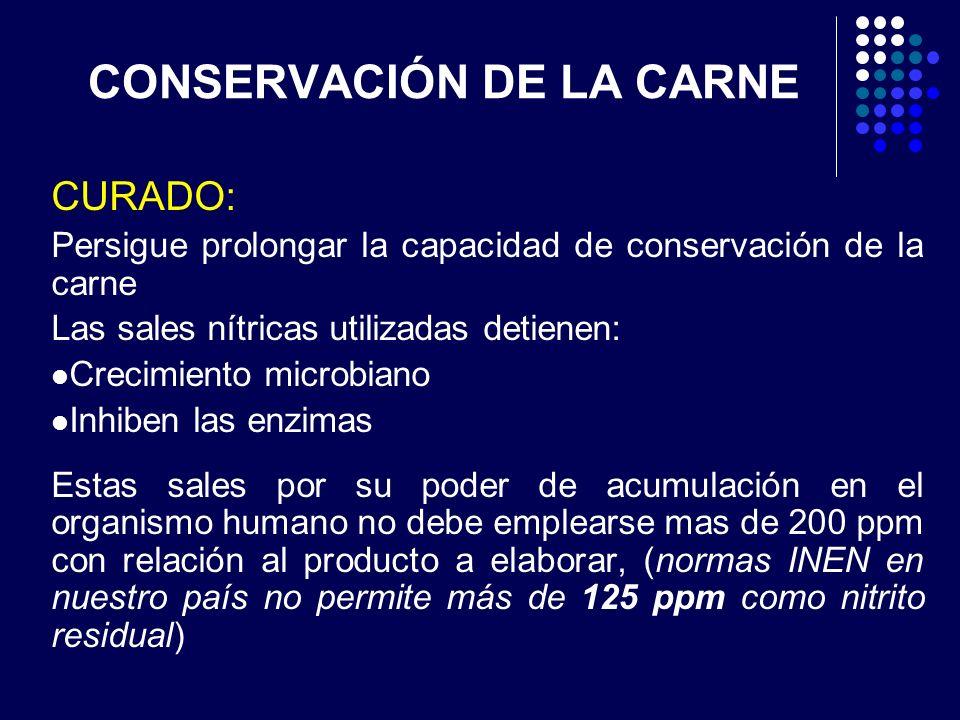 CONSERVACIÓN DE LA CARNE CURADO: Persigue prolongar la capacidad de conservación de la carne Las sales nítricas utilizadas detienen: Crecimiento micro