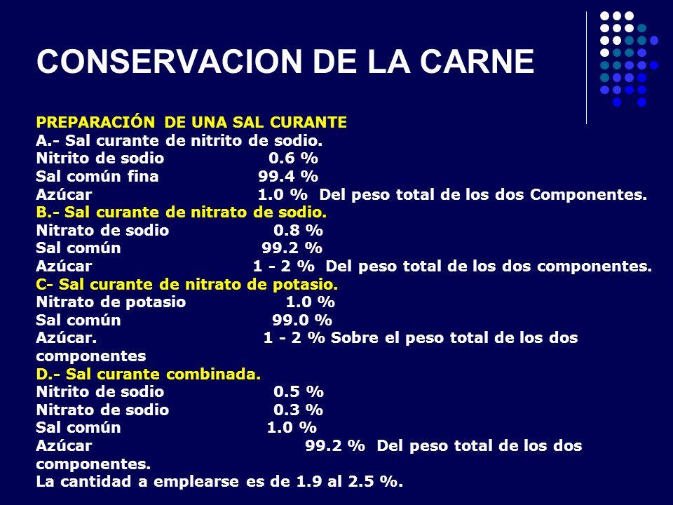 CONSERVACION DE LA CARNE PREPARACIÓN DE UNA SAL CURANTE A.- Sal curante de nitrito de sodio. Nitrito de sodio 0.6 % Sal común fina 99.4 % Azúcar 1.0 %