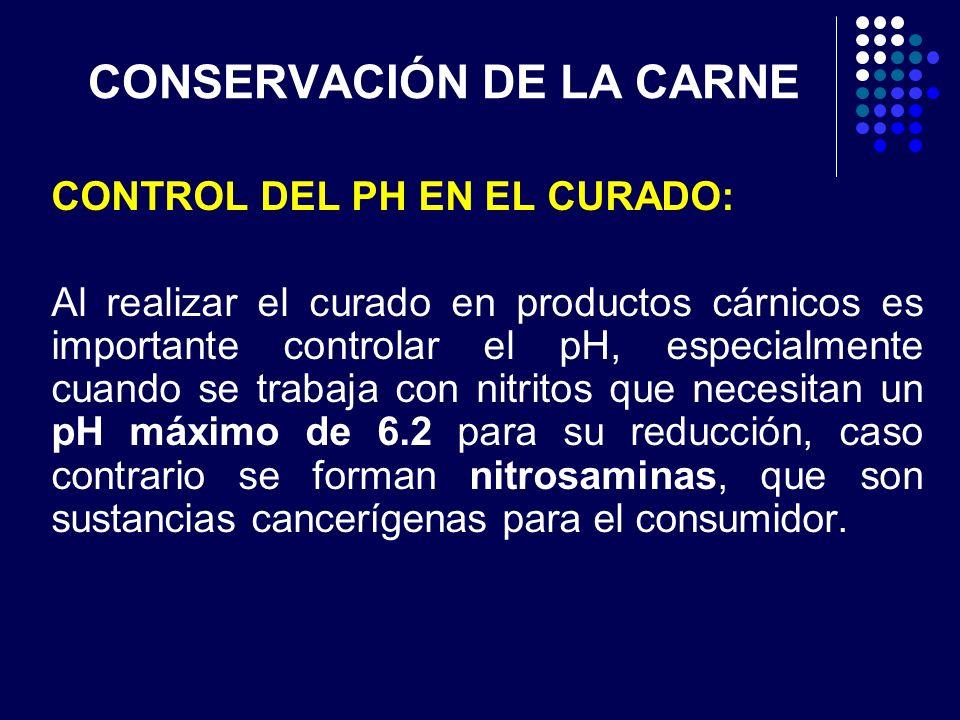 CONSERVACIÓN DE LA CARNE CONTROL DEL PH EN EL CURADO: Al realizar el curado en productos cárnicos es importante controlar el pH, especialmente cuando
