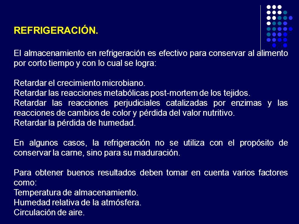 REFRIGERACIÓN. El almacenamiento en refrigeración es efectivo para conservar al alimento por corto tiempo y con lo cual se logra: Retardar el crecimie